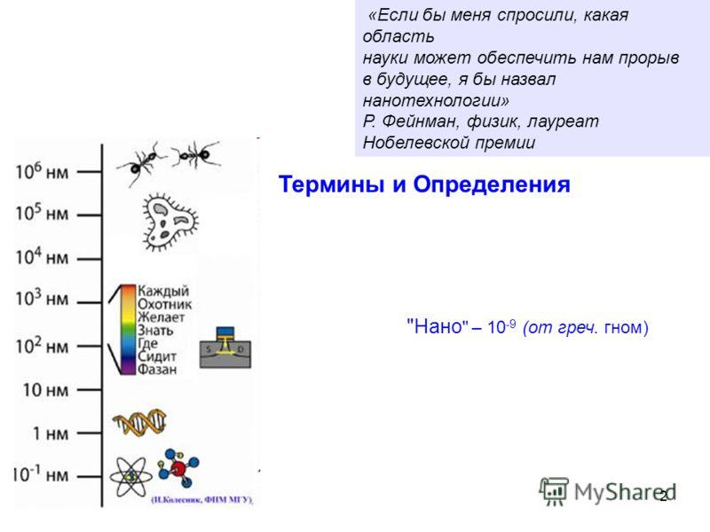 «Если бы меня спросили, какая область науки может обеспечить нам прорыв в будущее, я бы назвал нанотехнологии» Р. Фейнман, физик, лауреат Нобелевской премии Термины и Определения Нано  – 10 -9 (от греч. гном) 2