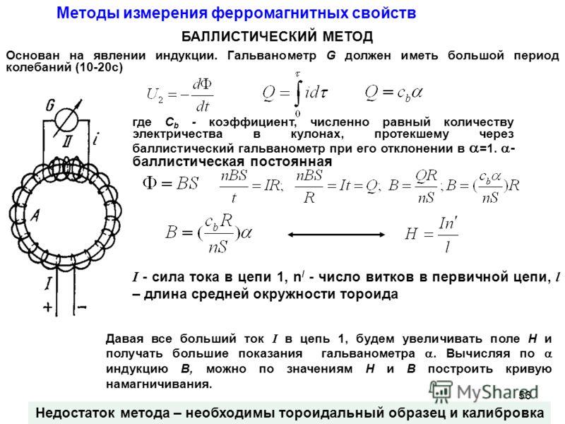 Методы измерения ферромагнитных свойств БАЛЛИСТИЧЕСКИЙ МЕТОД Недостаток метода – необходимы тороидальный образец и калибровка Основан на явлении индукции. Гальванометр G должен иметь большой период колебаний (10-20с) где C b - коэффициент, численно р