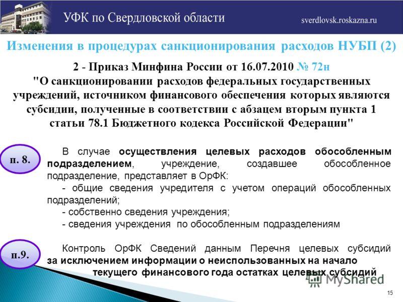 15 Изменения в процедурах санкционирования расходов НУБП (2) 2 - Приказ Минфина России от 16.07.2010 72н