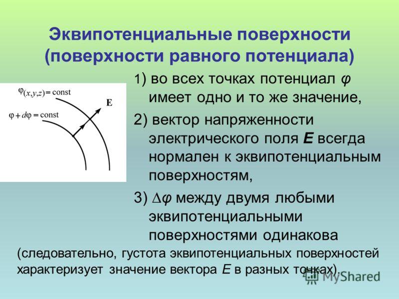 Эквипотенциальные поверхности (поверхности равного потенциала) 1 ) во всех точках потенциал φ имеет одно и то же значение, 2) вектор напряженности электрического поля Е всегда нормален к эквипотенциальным поверхностям, 3) φ между двумя любыми эквипот