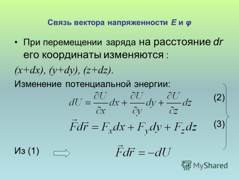 Связь вектора напряженности Е и φ При перемещении заряда на расстояние dr его координаты изменяются : (x+dx), (y+dy), (z+dz). Изменение потенциальной энергии: (2) (3) Из (1)