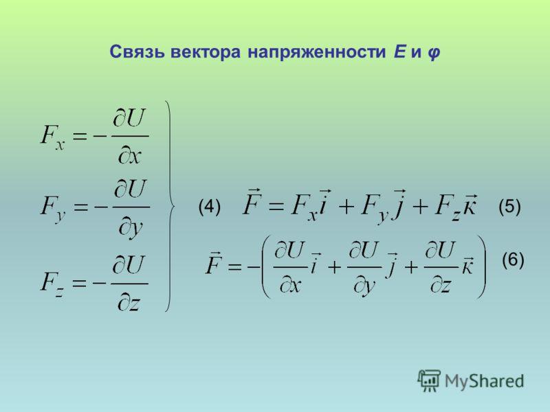 Связь вектора напряженности Е и φ (4) (5) (6)