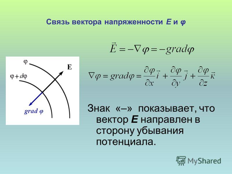 Связь вектора напряженности Е и φ Знак «–» показывает, что вектор Е направлен в сторону убывания потенциала.
