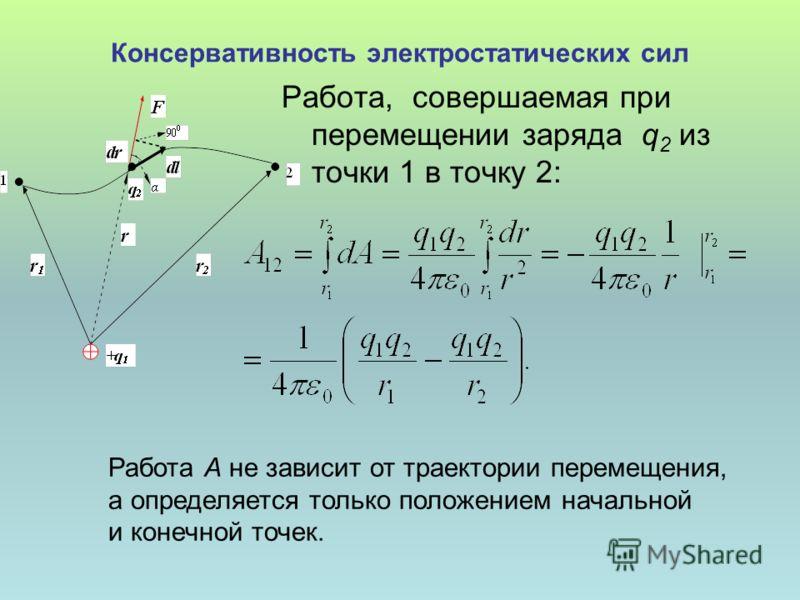 Консервативность электростатических сил Работа, совершаемая при перемещении заряда q 2 из точки 1 в точку 2: Работа А не зависит от траектории перемещения, а определяется только положением начальной и конечной точек.