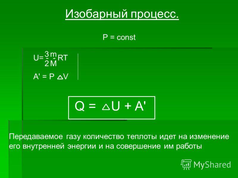 Изобарный процесс. P = const A' = P V U= - - RT 3 2 m M Q = U + A' Передаваемое газу количество теплоты идет на изменение его внутренней энергии и на совершение им работы