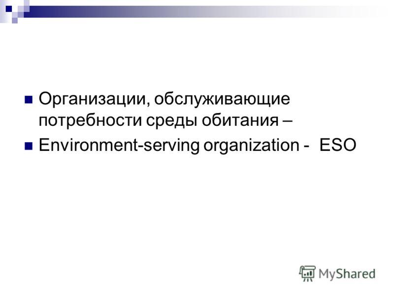 Организации, обслуживающие потребности среды обитания – Environment-serving organization - ESO
