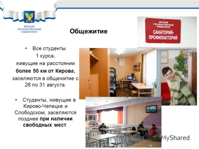 Все студенты 1 курса, живущие на расстоянии более 50 км от Кирова, заселяются в общежитие с 28 по 31 августа. Студенты, живущие в Кирово-Чепецке и Слободском, заселяются позднее при наличии свободных мест. Общежитие