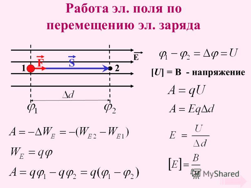 Работа эл. поля по перемещению эл. заряда 12 Е SF [U] = В - напряжение