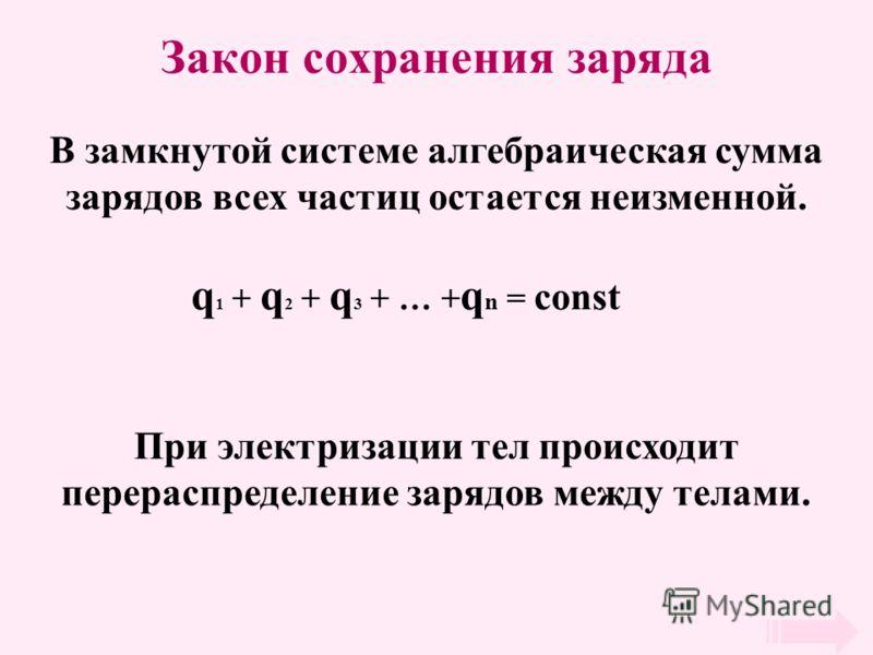Закон сохранения заряда В замкнутой системе алгебраическая сумма зарядов всех частиц остается неизменной. q 1 + q 2 + q 3 + … + q n = const При электризации тел происходит перераспределение зарядов между телами.
