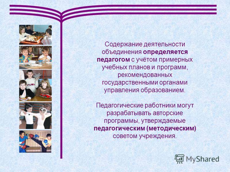 Содержание деятельности объединения определяется педагогом с учётом примерных учебных планов и программ, рекомендованных государственными органами управления образованием. Педагогические работники могут разрабатывать авторские программы, утверждаемые