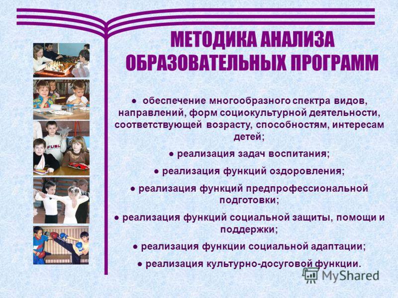 МЕТОДИКА АНАЛИЗА ОБРАЗОВАТЕЛЬНЫХ ПРОГРАММ обеспечение многообразного спектра видов, направлений, форм социокультурной деятельности, соответствующей возрасту, способностям, интересам детей; реализация задач воспитания; реализация функций оздоровления;