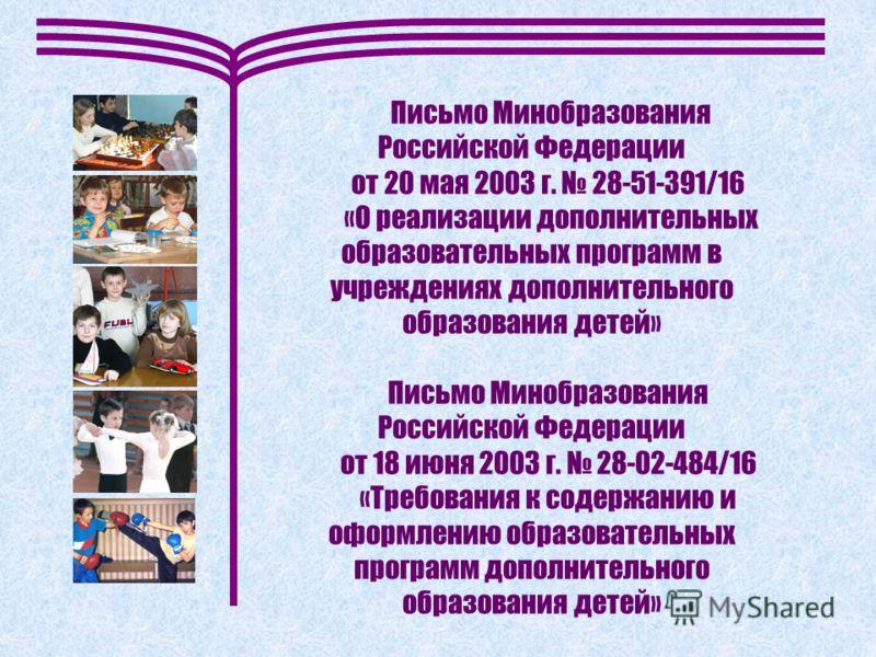 Письмо Минобразования Российской Федерации от 20 мая 2003 г. 28-51-391/16 «О реализации дополнительных образовательных программ в учреждениях дополнительного образования детей» Письмо Минобразования Российской Федерации от 18 июня 2003 г. 28-02-484/1