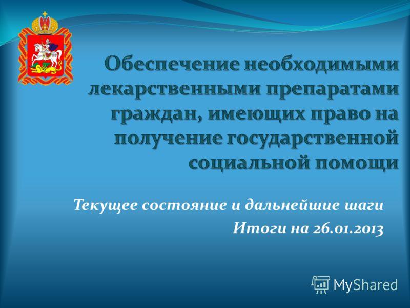 Текущее состояние и дальнейшие шаги Итоги на 26.01.2013