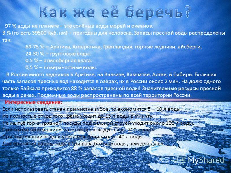 97 % воды на планете – это солёные воды морей и океанов. 3 % (то есть 39500 куб. км) – пригодны для человека. Запасы пресной воды распределены так: 69-75 % – Арктика, Антарктика, Гренландия, горные ледники, айсберги. 24-30 % – грунтовые воды. 0,5 % –