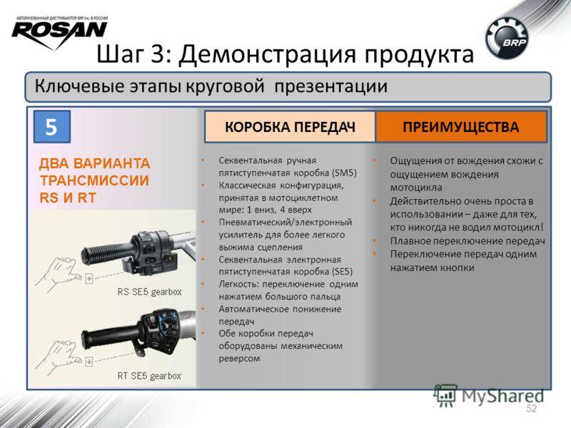 Шаг 3: Демонстрация продукта Ключевые этапы круговой презентации 52 5 КОРОБКА ПЕРЕДАЧПРЕИМУЩЕСТВА ДВА ВАРИАНТА ТРАНСМИССИИ RS И RT Секвентальная ручная пятиступенчатая коробка (SM5) Классическая конфигурация, принятая в мотоциклетном мире: 1 вниз, 4
