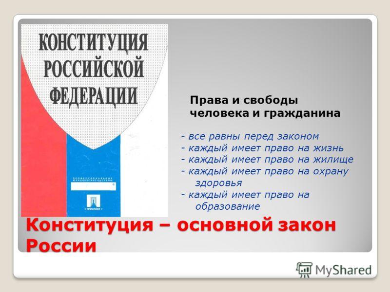 Конституция – основной закон России - все равны перед законом - каждый имеет право на жизнь - каждый имеет право на жилище - каждый имеет право на охрану здоровья - каждый имеет право на образование Права и свободы человека и гражданина