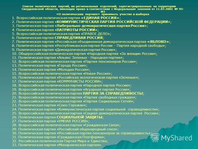 Список политических партий, их региональных отделений, зарегистрированных на территории Свердловской области, имеющих право в соответствии с Федеральным законом от 11.07.2001 95- ФЗ «О политических партиях» принимать участие в выборах 1. Всероссийска