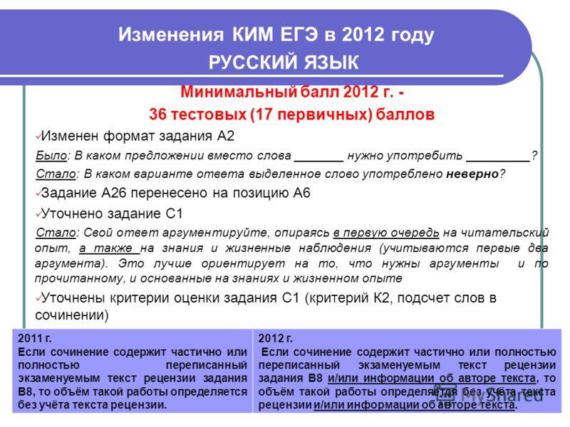 Изменения КИМ ЕГЭ в 2012 году 52 РУССКИЙ ЯЗЫК Минимальный балл 2012 г. - 36 тестовых (17 первичных) баллов Изменен формат задания А2 Было: В каком предложении вместо слова _______ нужно употребить _________? Стало: В каком варианте ответа выделенное