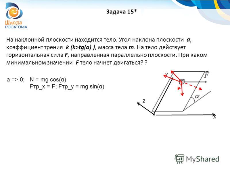 На наклонной плоскости находится тело. Угол наклона плоскости a, коэффициент трения k (k>tg(a) ), масса тела m. На тело действует горизонтальная сила F, направленная параллельно плоскости. При каком минимальном значении F тело начнет двигаться? ? Зад
