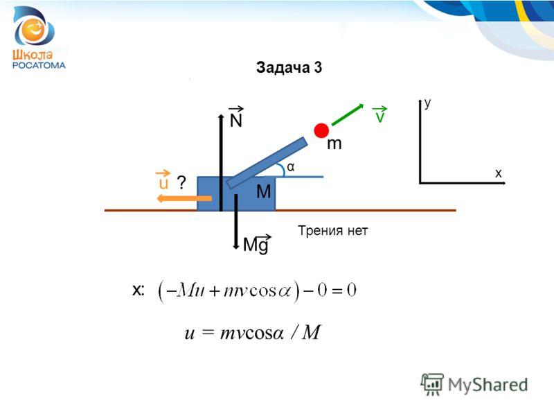 N Mg v u α y x x: Трения нет ? m M u = mvcosα / M Задача 3
