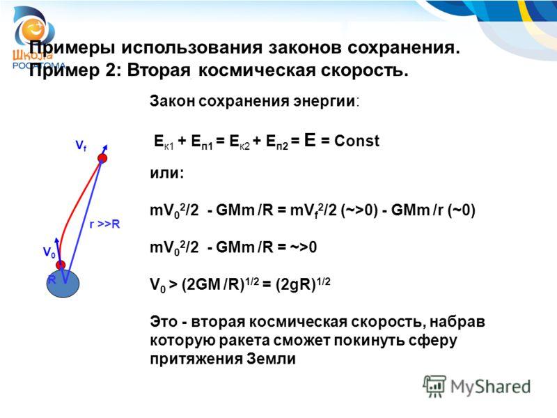 Примеры использования законов сохранения. Пример 2: Вторая космическая скорость. R r >>R V0V0 VfVf Закон сохранения энергии: E к1 + E п1 = E к2 + E п2 = E = Сonst или: mV 0 2 /2 - GMm /R = mV f 2 /2 (~>0) - GMm /r (~0) mV 0 2 /2 - GMm /R = ~>0 V 0 >
