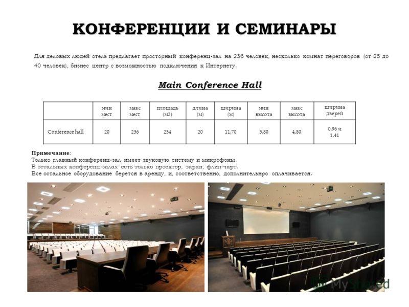 КОНФЕРЕНЦИИ И СЕМИНАРЫ Для деловых людей отель предлагает просторный конференц-зал на 236 человек, несколько комнат переговоров (от 25 до 40 человек), бизнес центр с возможностью подключения к Интернету. Main Conference Hall мин мест макс мест площад