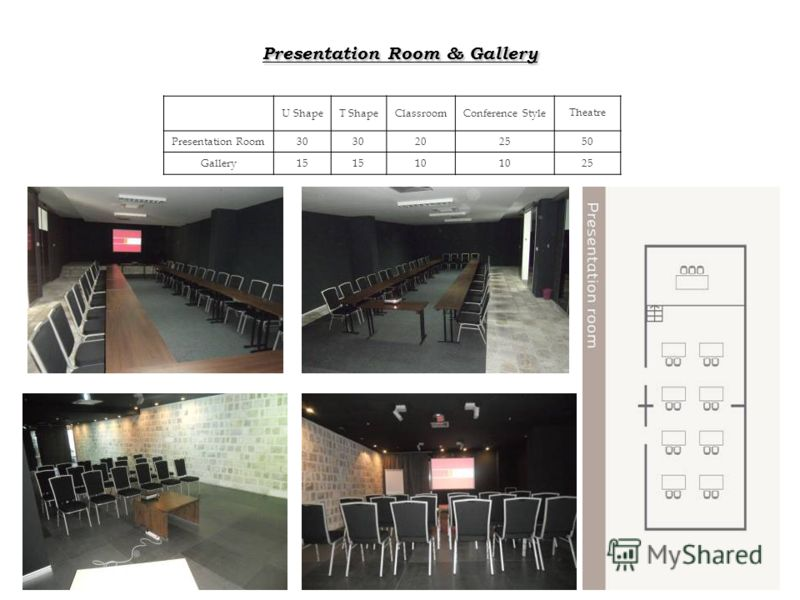 Presentation Room & Gallery U ShapeT ShapeClassroomConference Style Theatre Presentation Room30 202550 Gallery15 10 25