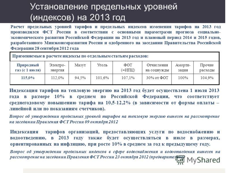 Установление предельных уровней (индексов) на 2013 год Расчет предельных уровней тарифов и предельных индексов изменения тарифов на 2013 год производился ФСТ России в соответствии с основными параметрами прогноза социально- экономического развития Ро