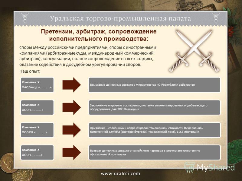 споры между российскими предприятиями, споры с иностранными компаниями (арбитражные суды, международный коммерческий арбитраж), консультации, полное сопровождение на всех стадиях, оказание содействия в досудебном урегулировании споров. Наш опыт: Прет