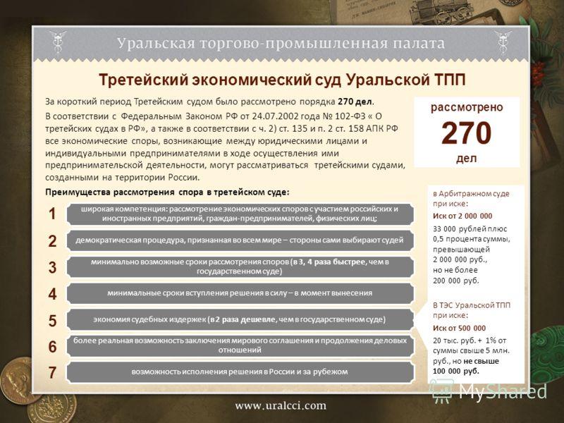 Третейский экономический суд Уральской ТПП За короткий период Третейским судом было рассмотрено порядка 270 дел. В соответствии с Федеральным Законом РФ от 24.07.2002 года 102-ФЗ « О третейских судах в РФ», а также в соответствии с ч. 2) ст. 135 и п.