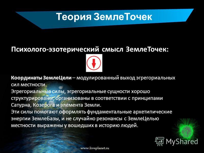 Теория ЗемлеТочек www.liveplanet.ru Психолого-эзотерический смысл ЗемлеТочек: Координаты ЗемлеЦели – модулированный выход эгрегориальных сил местности. Эгрегориальные силы, эгрегориальные сущности хорошо структурированы, организованы в соответствии с
