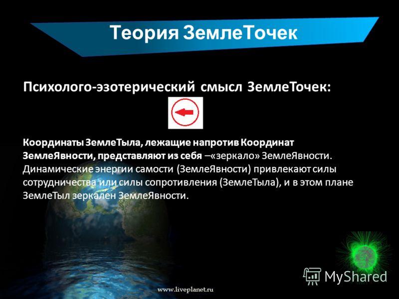 Теория ЗемлеТочек www.liveplanet.ru Психолого-эзотерический смысл ЗемлеТочек: Координаты ЗемлеТыла, лежащие напротив Координат ЗемлеЯвности, представляют из себя –«зеркало» ЗемлеЯвности. Динамические энергии самости (ЗемлеЯвности) привлекают силы сот