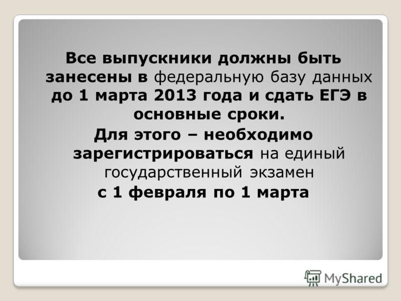 Все выпускники должны быть занесены в федеральную базу данных до 1 марта 2013 года и сдать ЕГЭ в основные сроки. Для этого – необходимо зарегистрироваться на единый государственный экзамен с 1 февраля по 1 марта