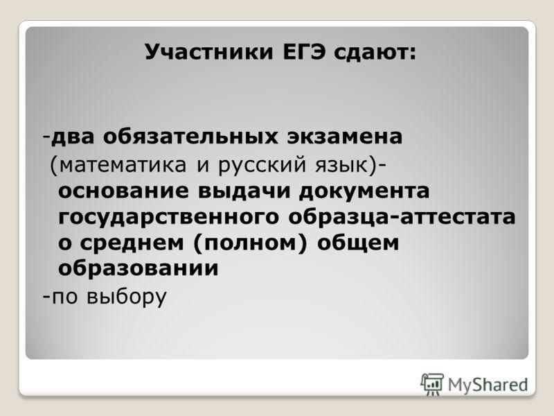 Участники ЕГЭ сдают: -два обязательных экзамена (математика и русский язык)- основание выдачи документа государственного образца-аттестата о среднем (полном) общем образовании -по выбору
