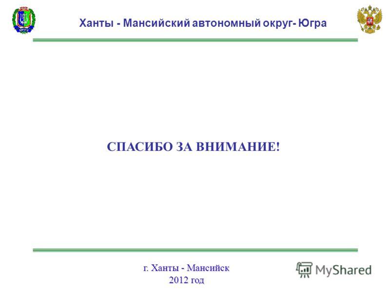 г. Ханты - Мансийск 2012 год Ханты - Мансийский автономный округ- Югра СПАСИБО ЗА ВНИМАНИЕ!