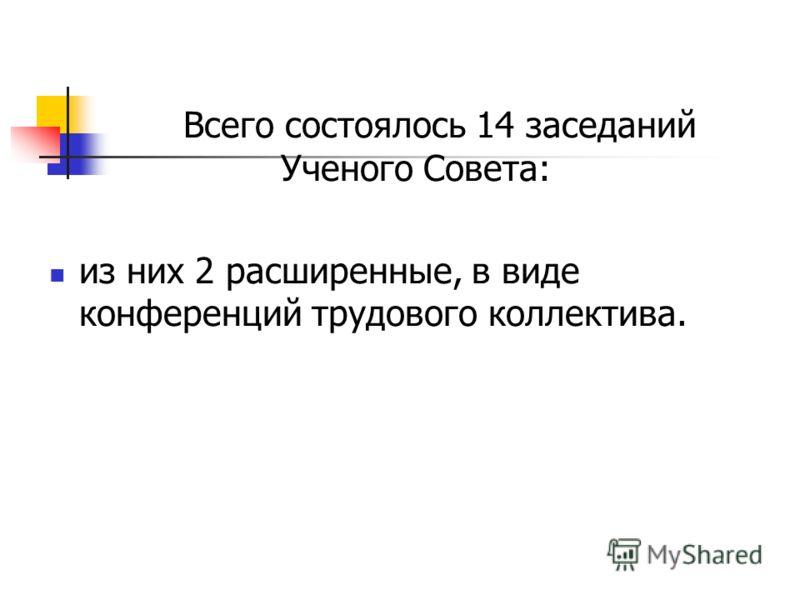 Всего состоялось 14 заседаний Ученого Совета: из них 2 расширенные, в виде конференций трудового коллектива.