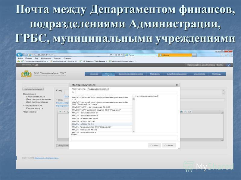 Почта между Департаментом финансов, подразделениями Администрации, ГРБС, муниципальными учреждениями
