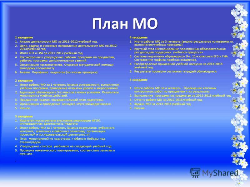 План МО 1 заседание 1.Анализ деятельности МО за 2011-2012 учебный год. 2.Цели, задачи и основные направления деятельности МО на 2012- 2013учебный год. 3.Итоги ЕГЭ и ГИА за 2011-2012 учебный год. 4.Рассмотрение и утверждение рабочих программ по предме