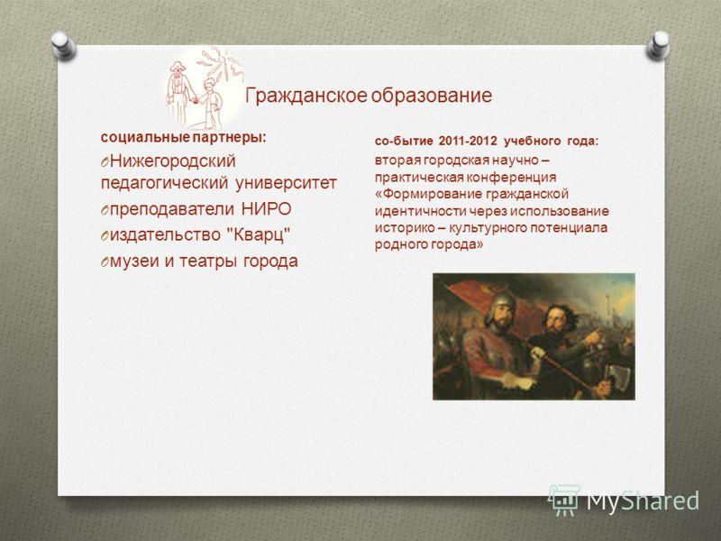 Гражданское образование социальные партнеры: O Нижегородский педагогический университет O преподаватели НИРО O издательство