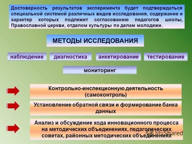 11. ФОРМЫ КОНТРОЛЯ РЕЗУЛЬТАТОВ ЭКСПЕРИМЕНТА