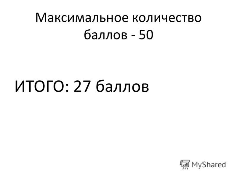 Максимальное количество баллов - 50 ИТОГО: 27 баллов