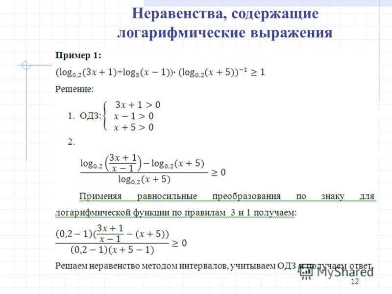 Неравенства, содержащие логарифмические выражения 12
