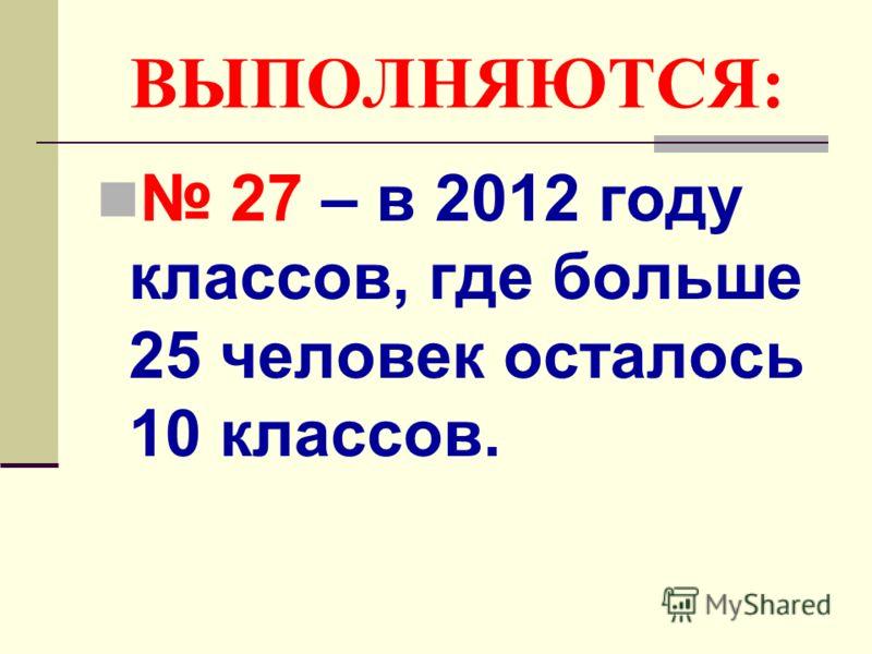 ВЫПОЛНЯЮТСЯ: 27 – в 2012 году классов, где больше 25 человек осталось 10 классов.