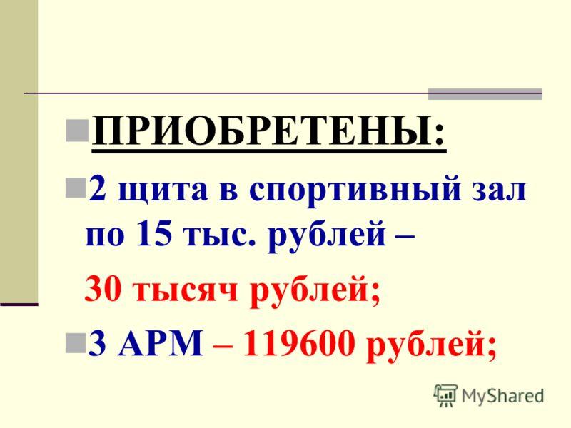 ПРИОБРЕТЕНЫ: 2 щита в спортивный зал по 15 тыс. рублей – 30 тысяч рублей; 3 АРМ – 119600 рублей;