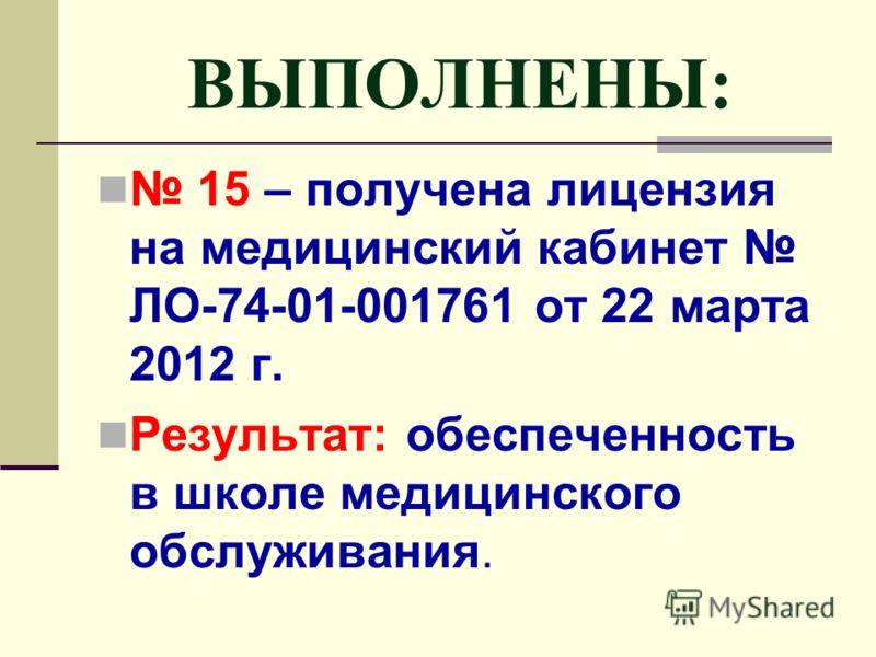 ВЫПОЛНЕНЫ: 15 – получена лицензия на медицинский кабинет ЛО-74-01-001761 от 22 марта 2012 г. Результат: обеспеченность в школе медицинского обслуживания.