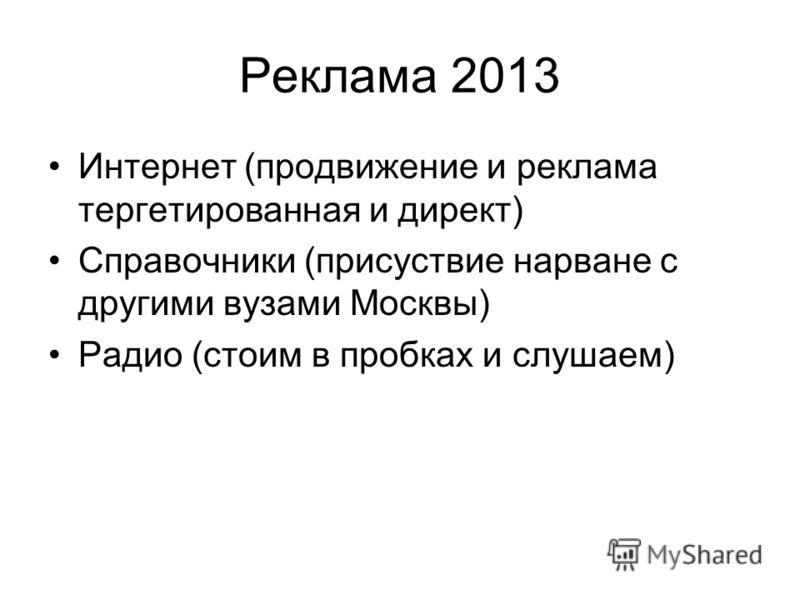 Реклама 2013 Интернет (продвижение и реклама тергетированная и директ) Справочники (присуствие нарване с другими вузами Москвы) Радио (стоим в пробках и слушаем)