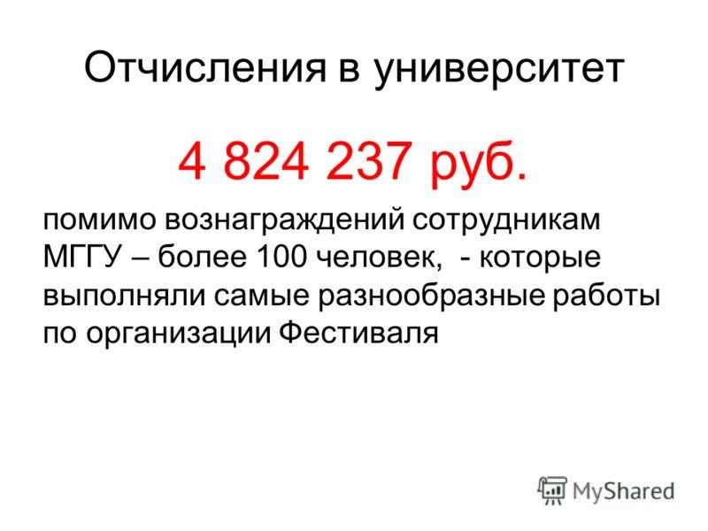 Отчисления в университет 4 824 237 руб. помимо вознаграждений сотрудникам МГГУ – более 100 человек, - которые выполняли самые разнообразные работы по организации Фестиваля