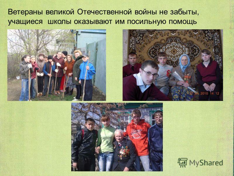 Ветераны великой Отечественной войны не забыты, учащиеся школы оказывают им посильную помощь