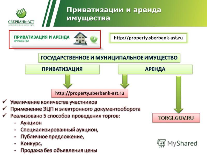 http://property.sberbank-ast.ru Приватизации и аренда имущества http://property.sberbank-ast.ru
