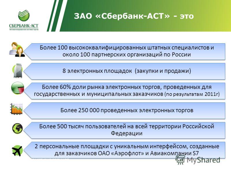 http://trade.sberbank-ast.ru ЗАО «Сбербанк-АСТ» - это Более 100 высококвалифицированных штатных специалистов и около 100 партнерских организаций по России 8 электронных площадок (закупки и продажи) Более 60% доли рынка электронных торгов, проведенных